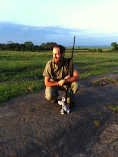 Item #1 & #2 - Good guide, Good gun.....Richard Pye at Mara Plains Camp, big gun. (additional note - gun is only for extreme emergencies we were told - it is all about conservation.....)